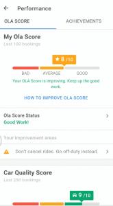 ola driver performance on partner app